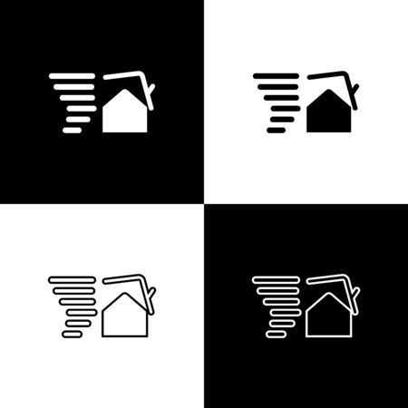 Set Tornado swirl damages house roof icon isolated on black and white background. Cyclone, whirlwind, storm funnel, hurricane wind icon. Vector Illustration Foto de archivo - 133656777