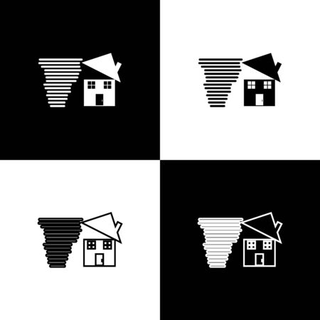 Set Tornado swirl damages house roof icon isolated on black and white background. Cyclone, whirlwind, storm funnel, hurricane wind icon. Vector Illustration