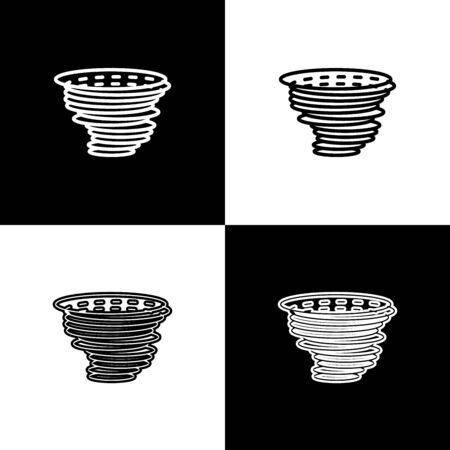 Set Tornado icon isolated on black and white background. Cyclone, whirlwind, storm funnel, hurricane wind or twister weather icon. Vector Illustration Foto de archivo - 133656798