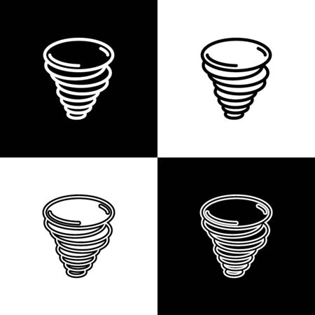 Set Tornado icon isolated on black and white background. Cyclone, whirlwind, storm funnel, hurricane wind or twister weather icon. Vector Illustration Foto de archivo - 133656802