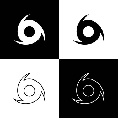 Set Tornado icon isolated on black and white background. Cyclone, whirlwind, storm funnel, hurricane wind or twister weather icon. Vector Illustration Foto de archivo - 133656805