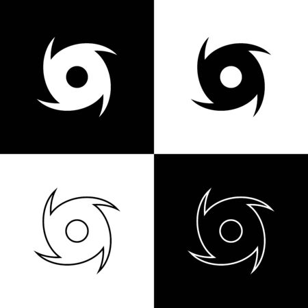 Set Tornado icon isolated on black and white background. Cyclone, whirlwind, storm funnel, hurricane wind or twister weather icon. Vector Illustration Foto de archivo - 133656804
