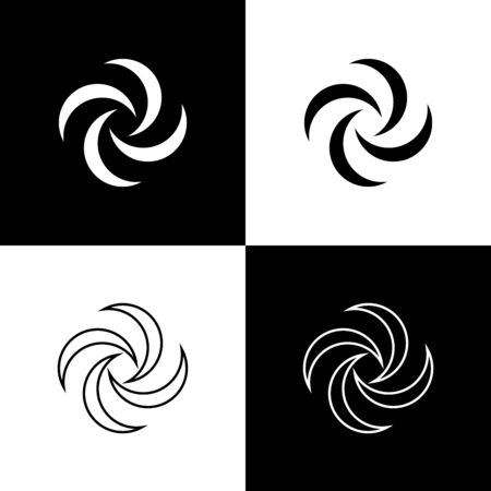 Set Tornado icon isolated on black and white background. Cyclone, whirlwind, storm funnel, hurricane wind or twister weather icon. Vector Illustration
