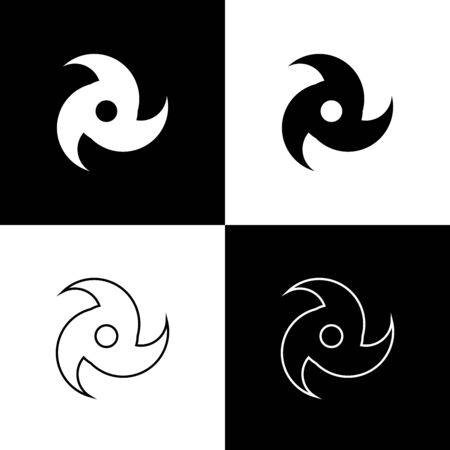 Set Tornado icon isolated on black and white background. Cyclone, whirlwind, storm funnel, hurricane wind or twister weather icon. Vector Illustration Foto de archivo - 133656807