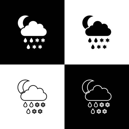 Set Cloud with snow, rain and moon icon isolated on black and white background. Weather icon. Vector Illustration Stock Illustratie
