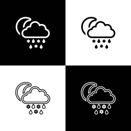 Set Cloud with snow and rain icon isolated on black and white background. Weather icon. Vector Illustration Stock Illustratie