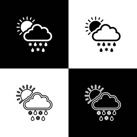 Set Cloud with snow, rain and sun icon isolated on black and white background. Weather icon. Vector Illustration