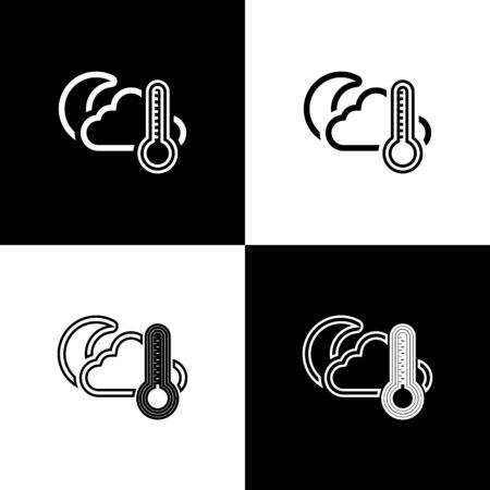 Set Thermometer and cloud with moon icon isolated on black and white background. Vector Illustration