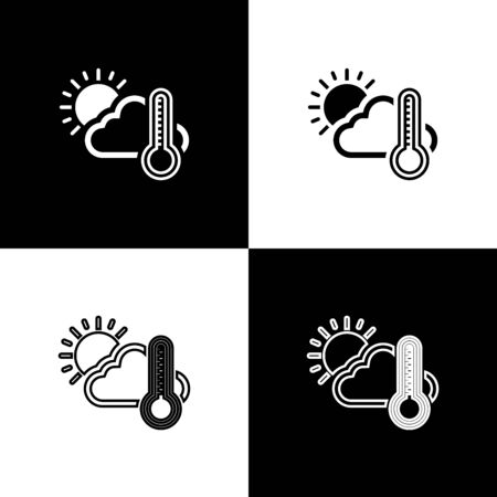 Set Thermometer and cloud with sun icon isolated on black and white background. Vector Illustration 向量圖像