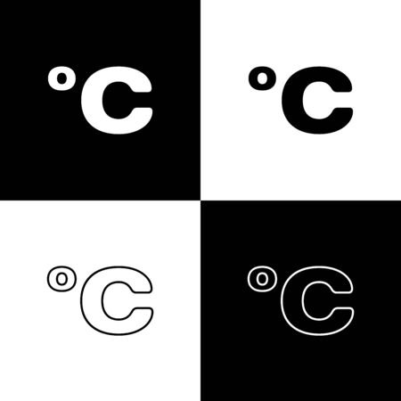 Set Celsius icon isolated on black and white background. Vector Illustration