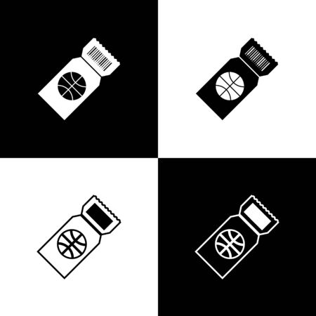 Set Basketball game ticket icon isolated on black and white background. Vector Illustration