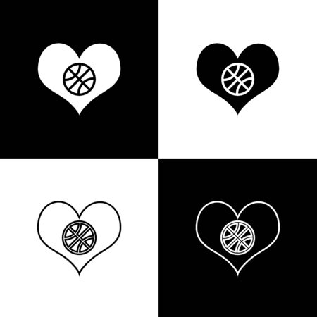 Set Heart with basketball ball inside icon isolated on black and white background. Basketball love. Vector Illustration
