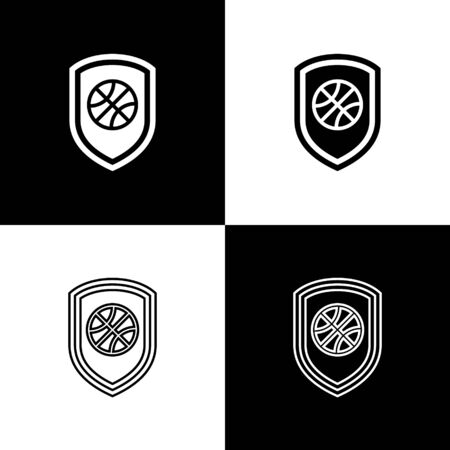 Set Shield in the basketball ball inside icon isolated on black and white background. Vector Illustration