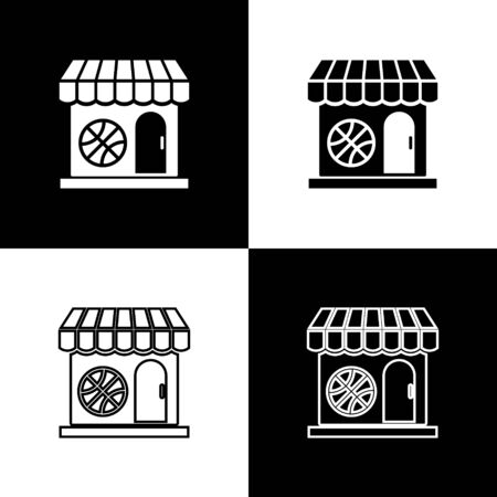 Set Sports shop and basketball ball icon isolated on black and white background. Sport store. Vector Illustration