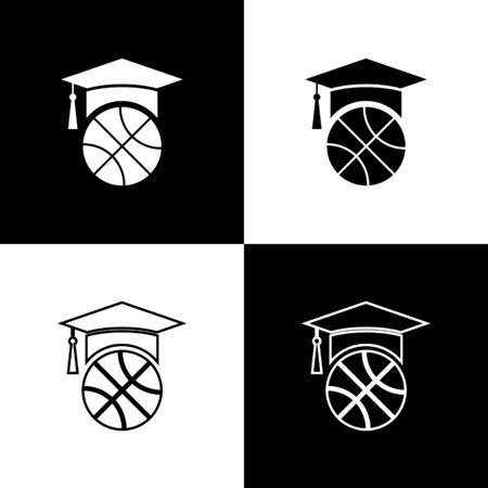 Set Basketball training icon isolated on black and white background. Vector Illustration