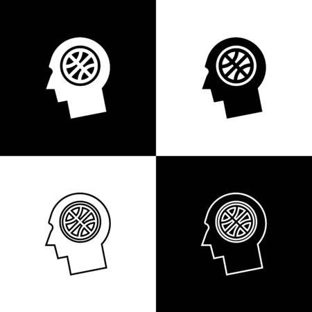 Set Thoughts on a basketball icon isolated on black and white background. Vector Illustration