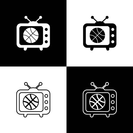 Set Basketball match on tv program icon isolated on black and white background. Vector Illustration
