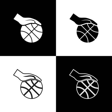 Set Hand with basketball ball icon isolated on black and white background. Sport symbol. Vector Illustration
