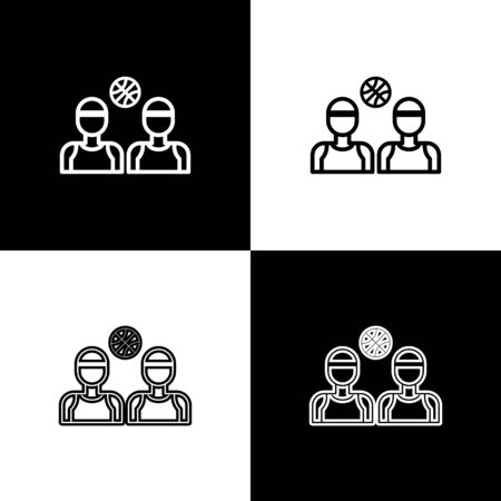 Set Basketball players icon isolated on black and white background. Vector Illustration