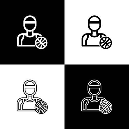 Set Basketball player icon isolated on black and white background. Vector Illustration
