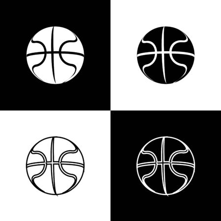 Set Basketball ball icon isolated on black and white background. Sport symbol. Vector Illustration Иллюстрация