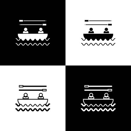 Set Boat with oars and people icon isolated on black and white background. Water sports, extreme sports, holiday, vacation, team building. Vector Illustration