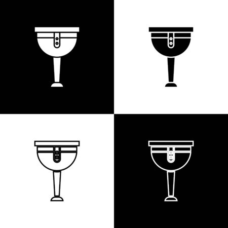 Set Wooden pirate leg icon isolated on black and white background. Vector Illustration