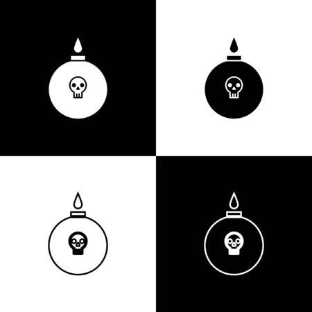 Set Bomb ready to explode icon isolated on black and white background. Vector Illustration Ilustração