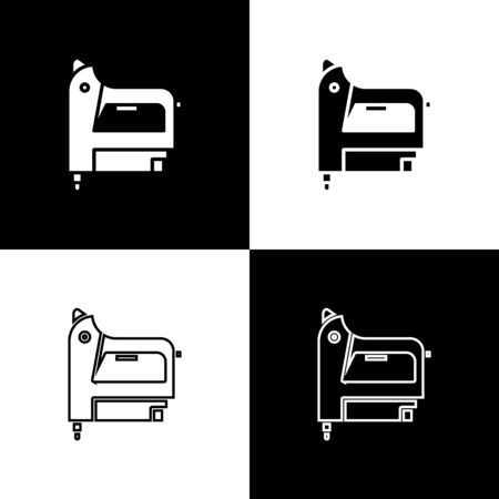 Set Electric construction stapler icon isolated on black and white background. Working tool. Vector Illustration
