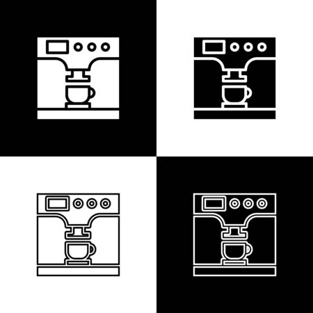 Set Coffee machine and coffee cup icon isolated on black and white background. Vector Illustration Standard-Bild - 133656146