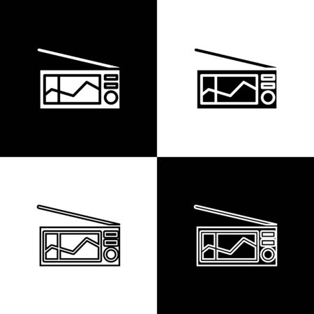 Set Radio with antenna icon isolated on black and white background. Vector Illustration