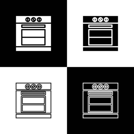 Set Oven icon isolated on black and white background. Stove gas oven sign. Vector Illustration Standard-Bild - 133656395