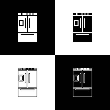 Set Refrigerator icon isolated on black and white background. Fridge freezer refrigerator. Household tech and appliances. Vector Illustration Standard-Bild - 133656396