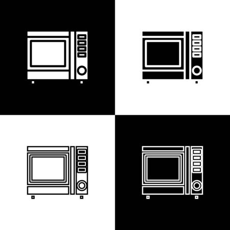Set Microwave oven icon isolated on black and white background. Home appliances icon. Vector Illustration Standard-Bild - 133656398