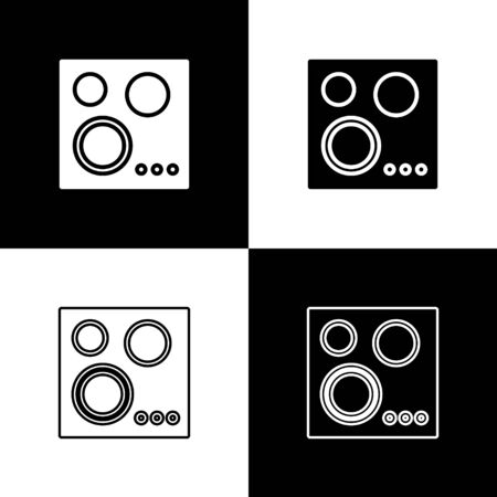 Set Gas stove icon isolated on black and white background. Cooktop sign. Hob with four circle burners. Vector Illustration Standard-Bild - 133656399