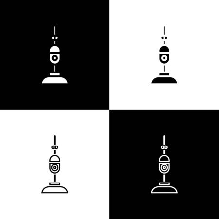 Set Vacuum cleaner icon isolated on black and white background. Vector Illustration Stock Illustratie