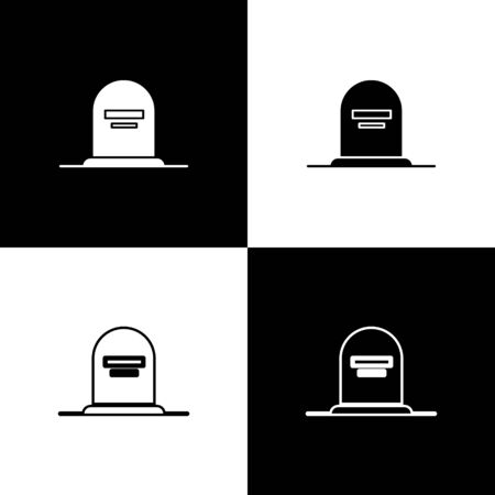 Set Tombstone with RIP written on it icon isolated on black and white background. Grave icon. Vector Illustration  イラスト・ベクター素材