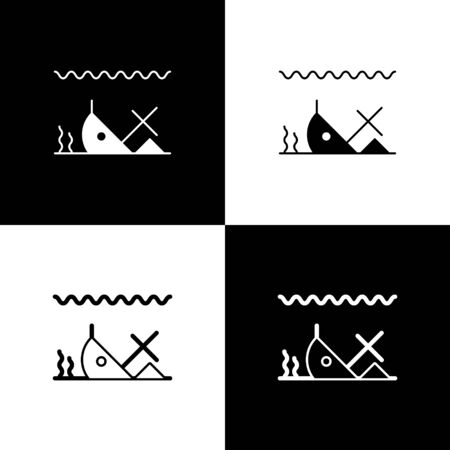 Set Sunken ship at the bottom of the sea icon isolated on black and white background. Vector Illustration