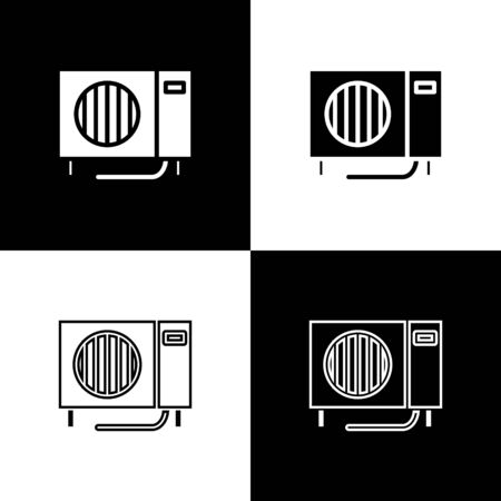 Set Air conditioner icon isolated on black and white background. Split system air conditioning. Cool and cold climate control system. Vector Illustration
