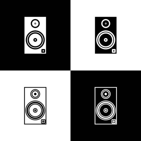 Set Stereo speaker icon isolated on black and white background. Sound system speakers. Music icon. Musical column speaker bass equipment. Vector Illustration Фото со стока - 133656086