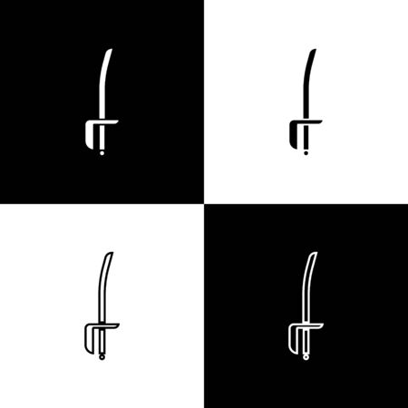 Set Pirate sword icon isolated on black and white background. Sabre sign. Vector Illustration