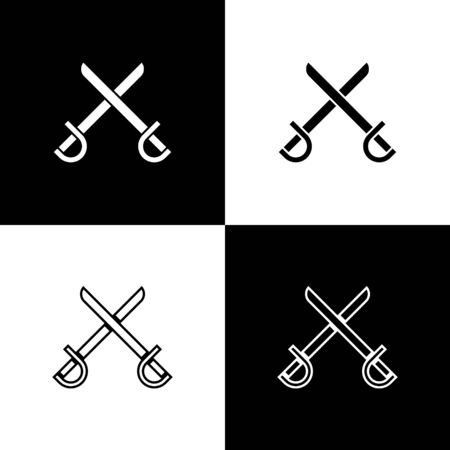 Set Crossed pirate swords icon isolated on black and white background. Sabre sign. Vector Illustration