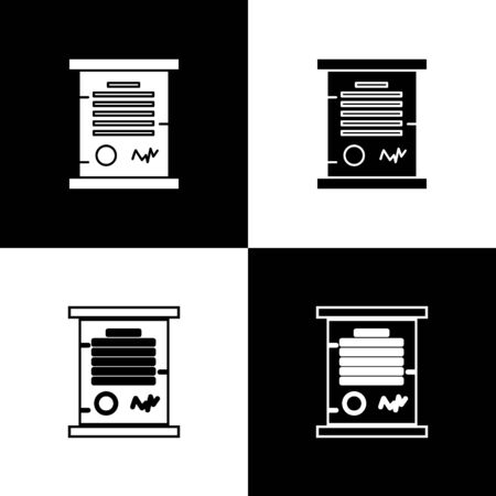 Set Decree, paper, parchment, scroll icon icon isolated on black and white background. Vector Illustration