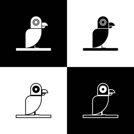 Set Pirate parrot icon isolated on black and white background. Vector Illustration