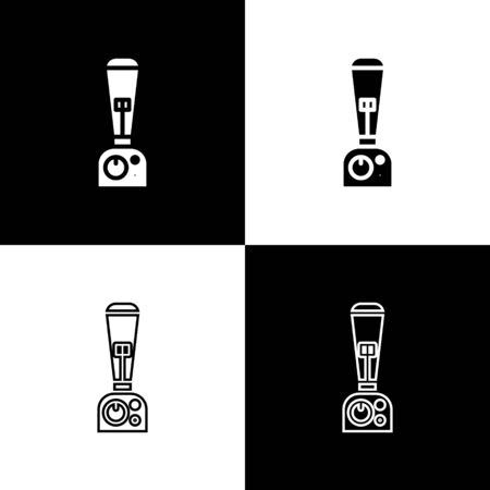 Set Blender icon isolated on black and white background. Kitchen electric stationary blender with bowl. Cooking smoothies, cocktail or juice. Vector Illustration Standard-Bild - 133656064