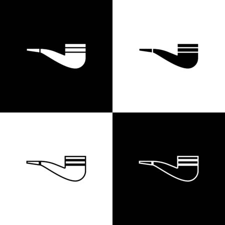 Set Smoking pipe with smoke icon isolated on black and white background. Tobacco pipe. Vector Illustration