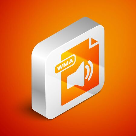 Isometric WMA file document. Download wma button icon isolated on orange background. WMA file symbol. Wma music format sign. Silver square button. Vector Illustration Çizim