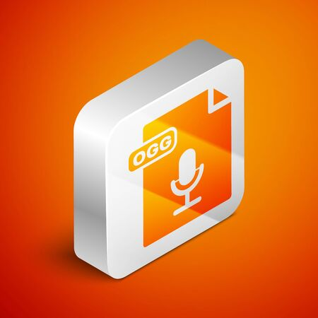 Isometric OGG file document. Download ogg button icon isolated on orange background. OGG file symbol. Silver square button. Vector Illustration Stok Fotoğraf - 133689865