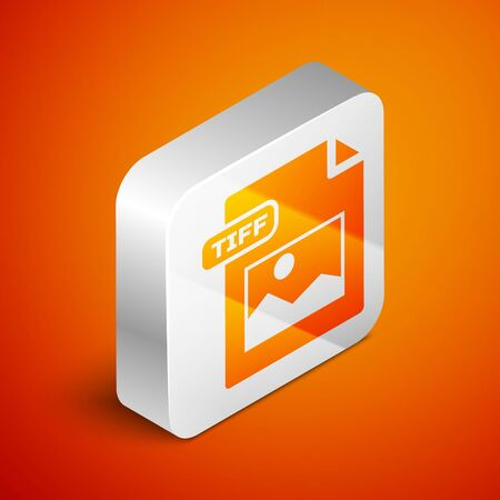 Isometric TIFF file document. Download tiff button icon isolated on orange background. TIFF file symbol. Silver square button. Vector Illustration