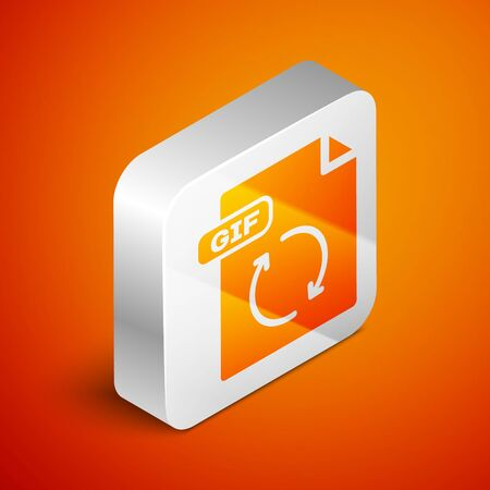 Isometric GIF file document. Download gif button icon isolated on orange background. GIF file symbol. Silver square button. Vector Illustration